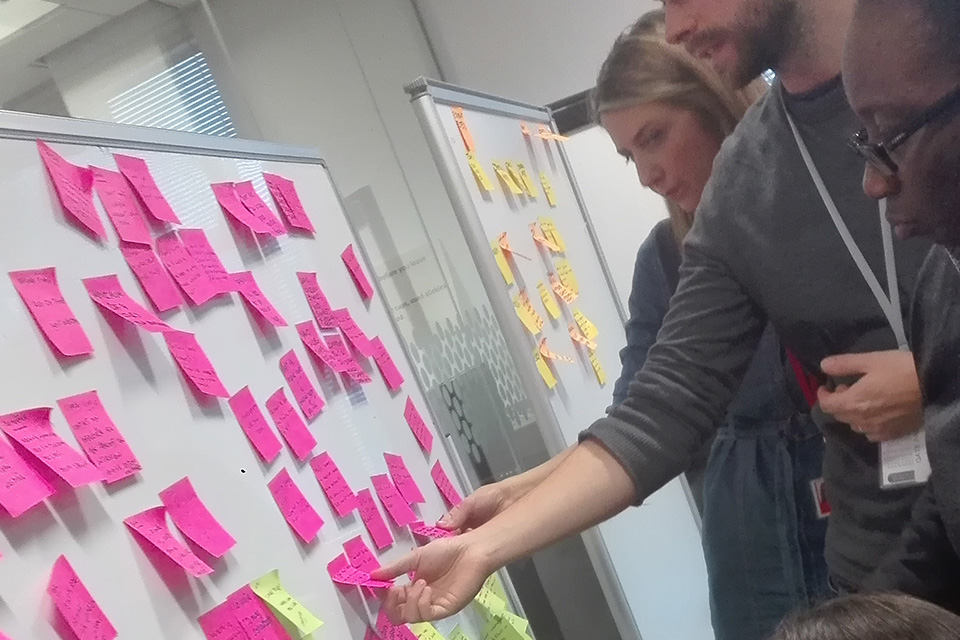 Three people sorting post it notes